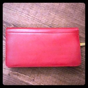 Red leather Hobo International wallet clutch